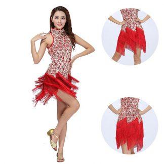 dfff6e0b5ab Γυναικεία Latin Στολή χορού με κρόσσια και πούλιες L35