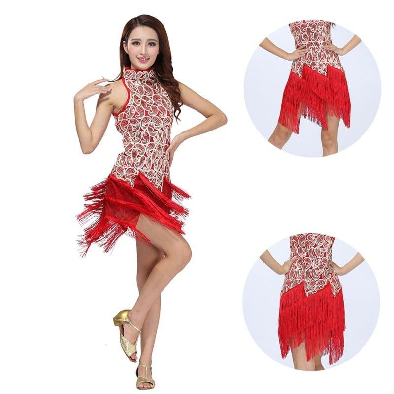 b5660ade86d6 Γυναικεία Latin Στολή χορού με κρόσσια και πούλιες L35 – Plus Eshop