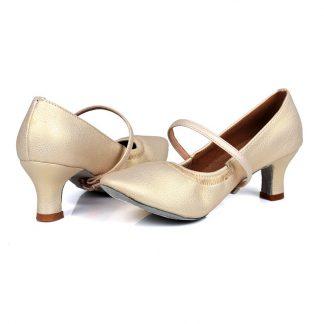 6276777e3c Παπούτσια Ευρωπαϊκών χορών με λάστιχο μπροστά με 5 cm τακούνι-σε 4 χρώματα
